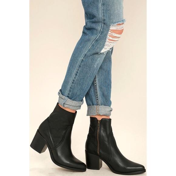 ecff04bebfb Steve Madden Peaches Black Leather Mid-Calf Boots NWT